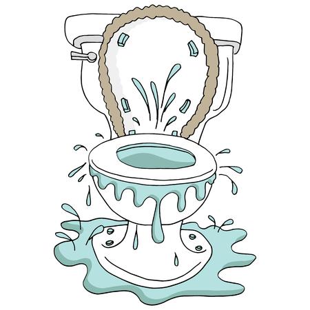 Een beeld van een Gebroken Overlopend Verstopt Toilet dat op wit wordt geïsoleerd. Stockfoto - 96212831