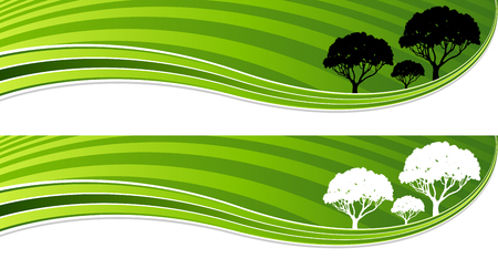 An image of a group of tree green energy wave banner set.