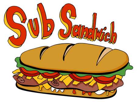 An image of a Cold Cut Sub Sandwich Drawing Foot Long cartoon isolated on white.