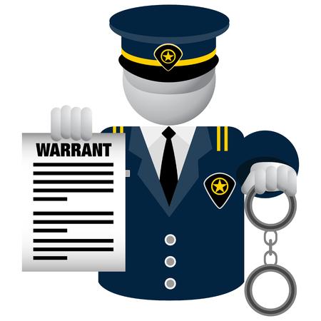 Ein Bild eines Polizeibeamten, der Warrant Icon liefert.