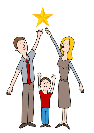 An image of a Family Reaching for The Stars vector illustration