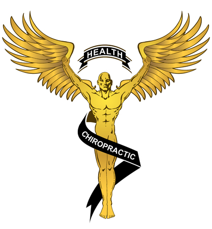 An image of a Chiropractic Health Gold Angel Man isolated on white background. Illustration