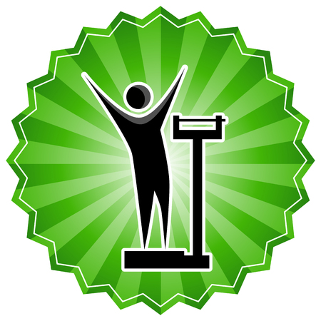 An image of a weight loss scale stick figure man in green starburst sticker.