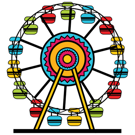 An image of a colorful Ferris wheel amusement park ride.