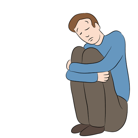 An image of a cartoon man who is depressed.