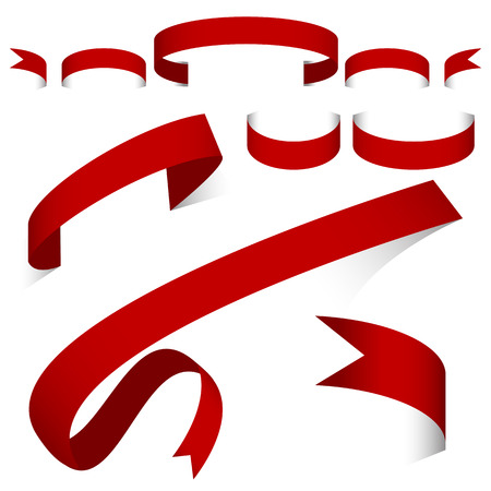 Red ribbon banner set on white background. Çizim