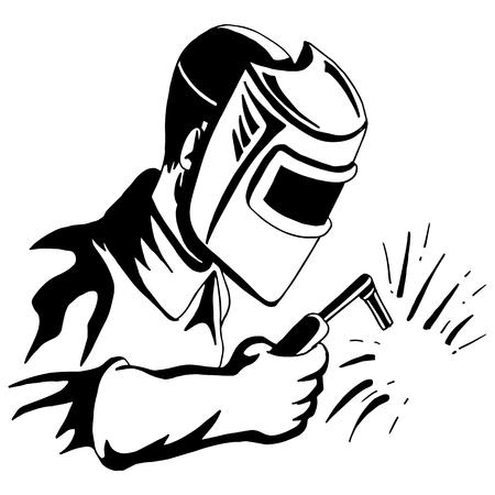 Obraz spawacza narzędzie do spawania czarny biały rysunek człowieka. Ilustracje wektorowe