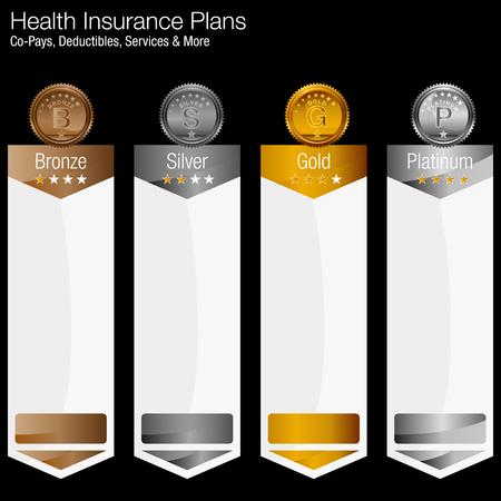 Obraz wykresu planu ubezpieczenia zdrowotnego. Ilustracje wektorowe
