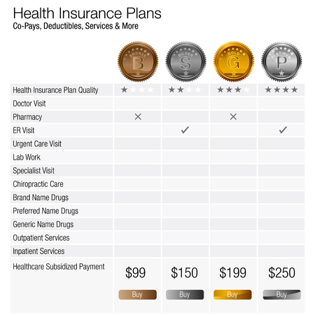 An image of a health insurance plan chart. Stock Illustratie