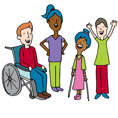 An image of  Diverse Disabled Children Cartoon isolated on white. Vector illustration. Illustration