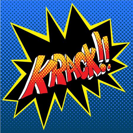 An image of a krack comic book word sound effect vector illustration Illustration