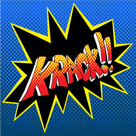 An image of a krack comic book word sound effect vector illustration Vettoriali