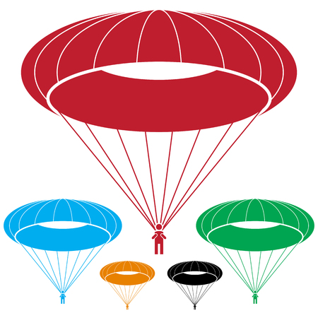 An image of a Paratrooper Parachute SkyDiving Man Icon. Illustration