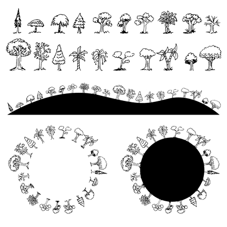 An image of a black and white Tree Drawing Set Circle Hills. 矢量图像