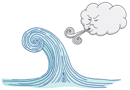 Cloud Blowing Windy Tidal Wave Cartoon isolated on white.
