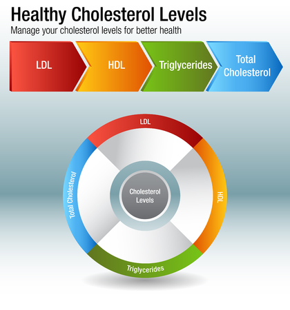 An image of a total blood cholesterol HDL LDL triglycerides chart. Stock fotó - 96905752