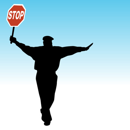 An image of a School Crossing Guard Silhouette holding stop sign.