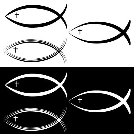 An image of a Christian Jesus Fish Symbol Set Black White.  イラスト・ベクター素材