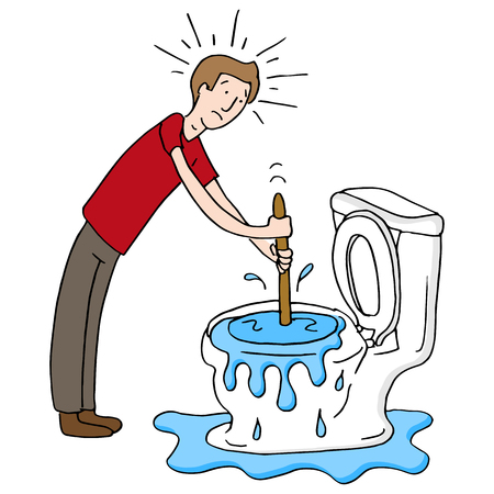 An image of a Man Using Plunger Clogged Toilet cartoon isolated on white.