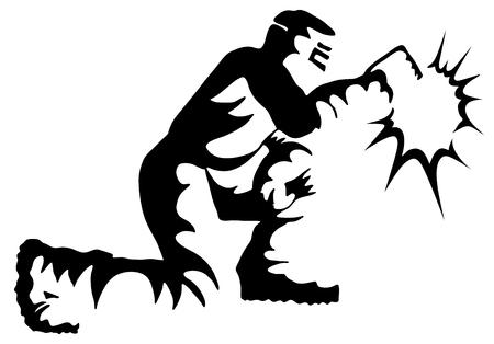 An image of a Welder Welding Kneeling Black White Drawing.