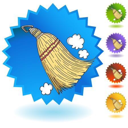 An image of a Sweeping Whisk Broom Starburst Badge Button Icon. Ilustração