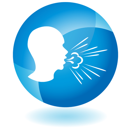 An image of a Coughing Man Spreading Germs vector illustration Stock Illustratie