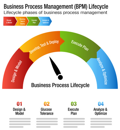 Business Process Management Life cycle Chart design Vectores