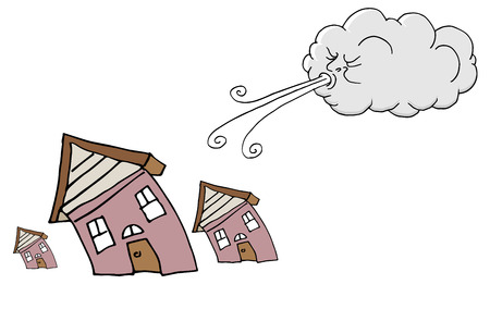 An image of a Windy Day homes and Cloud Blowing Wind cartoon.