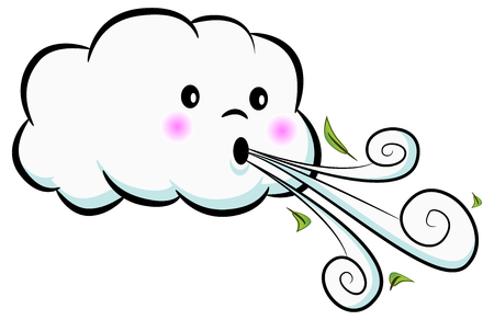 An image of a Cute Cloud Blowing Wind isolated on white. Vector illustration. Vettoriali