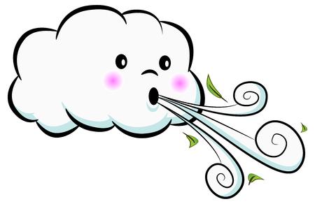 une image d & # 39 ; un nuage mignon vent soufflant isolé sur blanc. illustration vectorielle Vecteurs