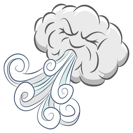 An image of a Powerful Angry Cloud Blowing Wind isolated on white.