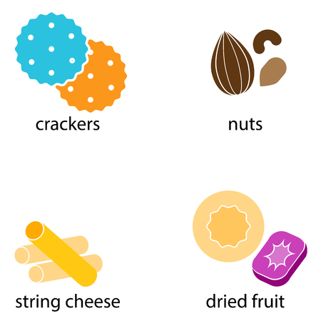 An image of a group of Crackers Nuts String Cheese Fruit Snack Food.