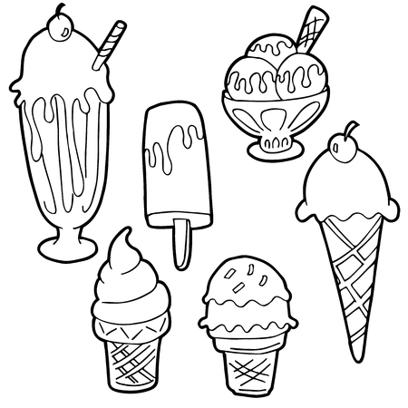 An image of a Ice Cream Cartoon Set Black and White. Vector illustration.