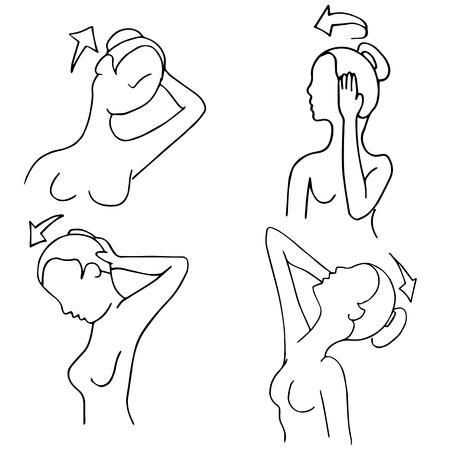 An image of neck stretching exercise routines woman.