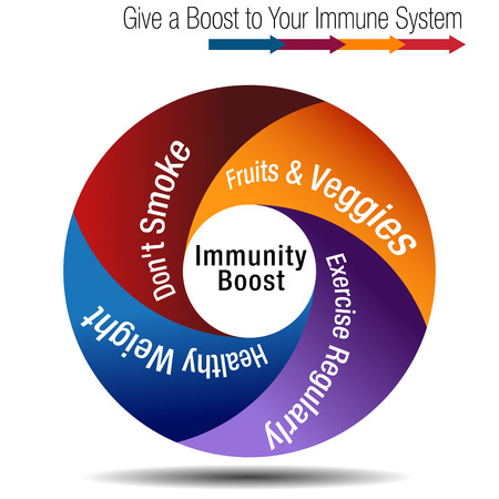 Boost and strengthen your immune system chart banner concept illustration Çizim