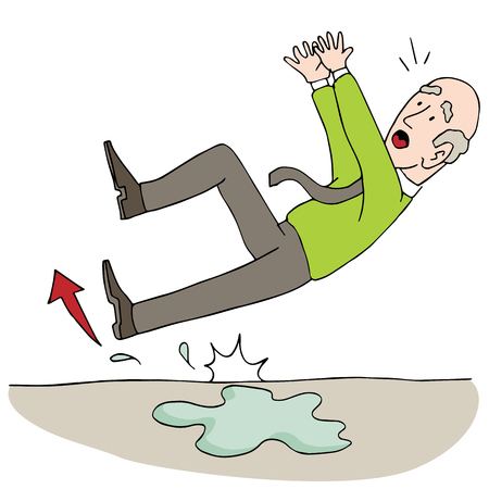 An image of an Old Elderly Senior Man Slipping on Wet Floor. Vector illustration.
