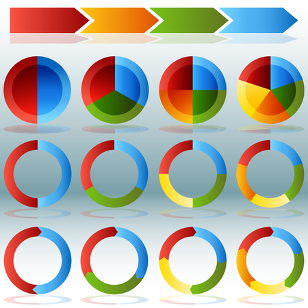 An image of a various Pie Chart Wheel Infographic Set with transparent drop shadows.