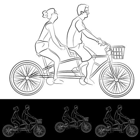 An image of a Tandem Bicycle Riders Young Couple line drawing.