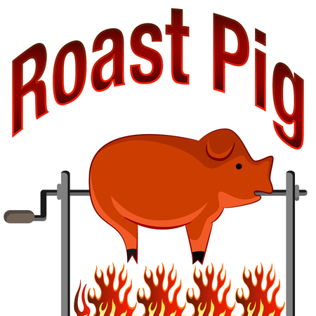 An image of a Roasted Pig on a spit fire Cartoon and Text.