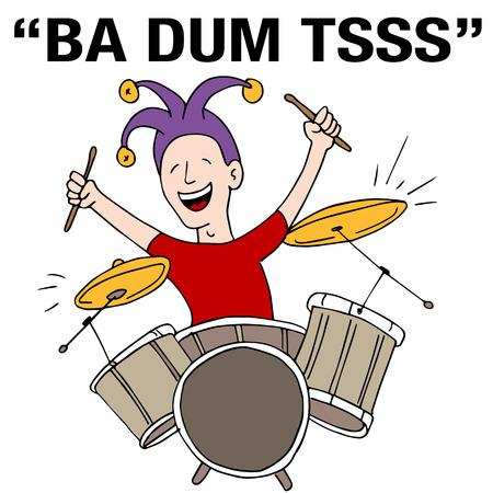 An image of a Jester Drummer Rimshot Drum Roll Punchline Cartoon.