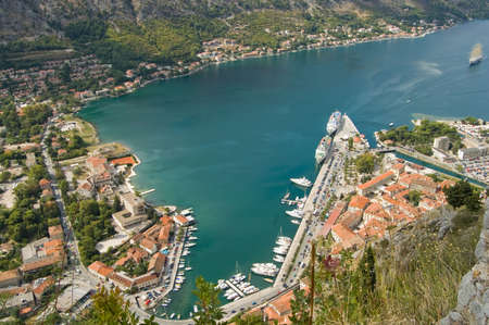 provincial: provincial town with little houses and dock in Montenegro Stock Photo