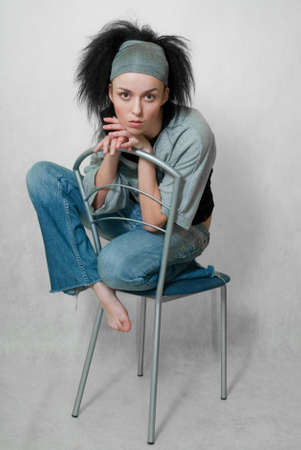 frontlet: beauty girl with frizzle hair on chair