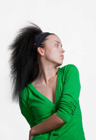 frontlet: beauty girl with black hair on white background