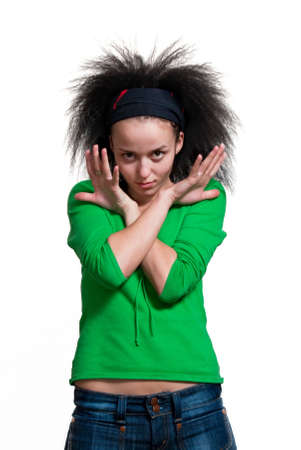 frontlet: beauty girl with frizzle hair on white background