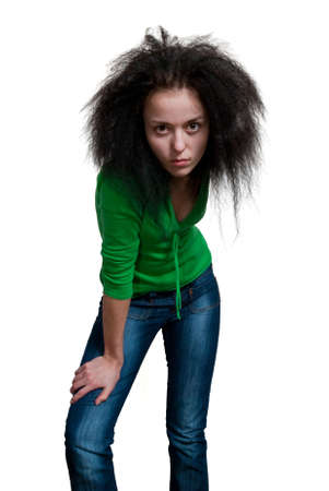 eastern european ethnicity: beauty girl with frizzle hair on white background