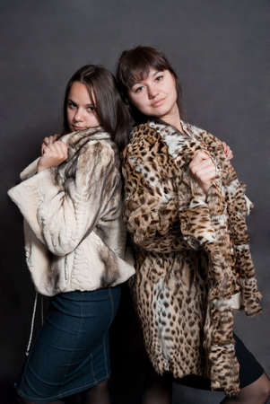 two sexy girls in fur coat on gray background photo