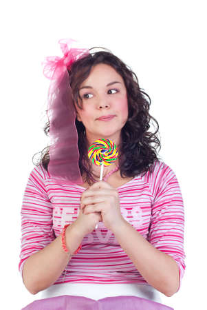 beauty girl with colorful lollipop isolated on white background photo