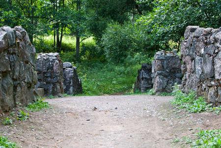crack willow: old bridge in the park of Lomonosov Stock Photo