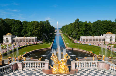 lower park with canal and golden statues of the Peterhof. Russia, St.Petersburg, Petrodvorets. Stock Photo - 8386446