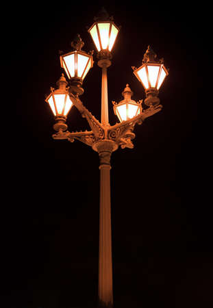 old-fashioned lantern with five lamps at night Stock Photo - 8613406